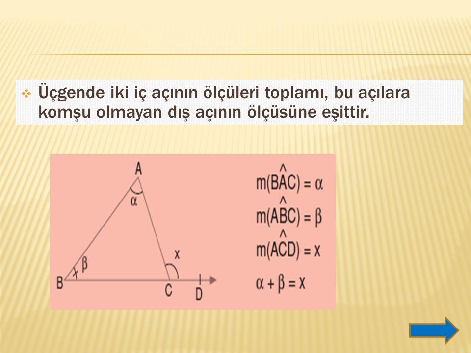 Üçgende iki iç açının ölçüleri toplamı, bu açılara komşu olmayan dış açının ölçüsüne eşittir.