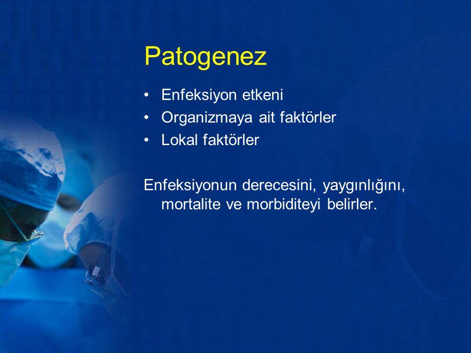 Patogenez Enfeksiyon etkeni Organizmaya ait faktörler Lokal faktörler