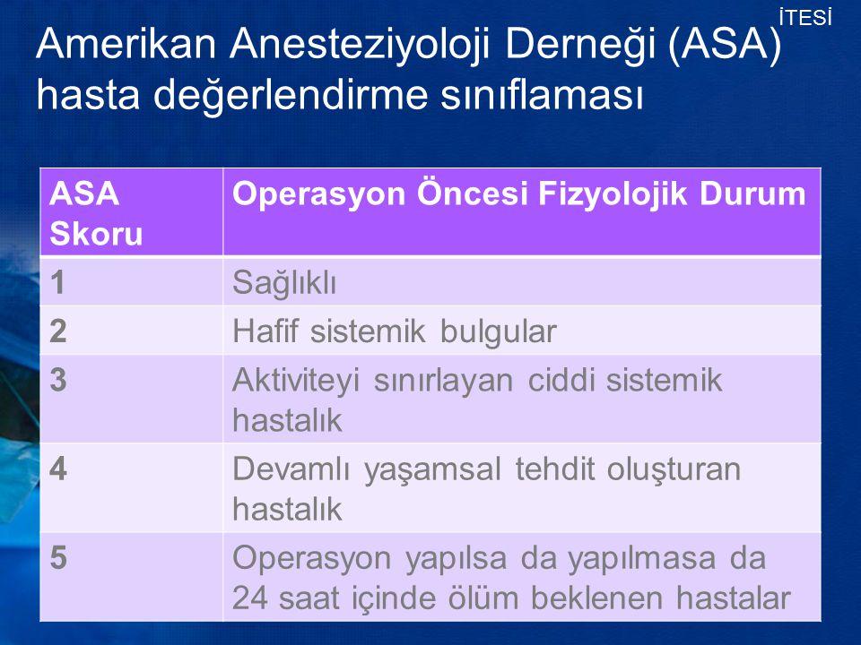 Amerikan Anesteziyoloji Derneği (ASA) hasta değerlendirme sınıflaması