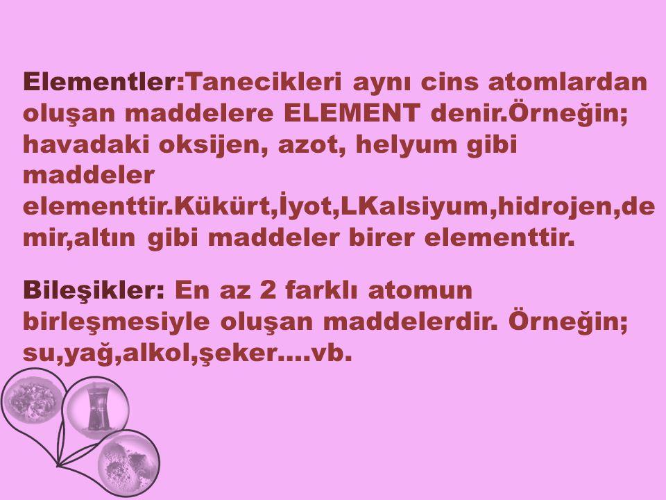 Elementler:Tanecikleri aynı cins atomlardan oluşan maddelere ELEMENT denir.Örneğin; havadaki oksijen, azot, helyum gibi maddeler elementtir.Kükürt,İyot,LKalsiyum,hidrojen,demir,altın gibi maddeler birer elementtir.