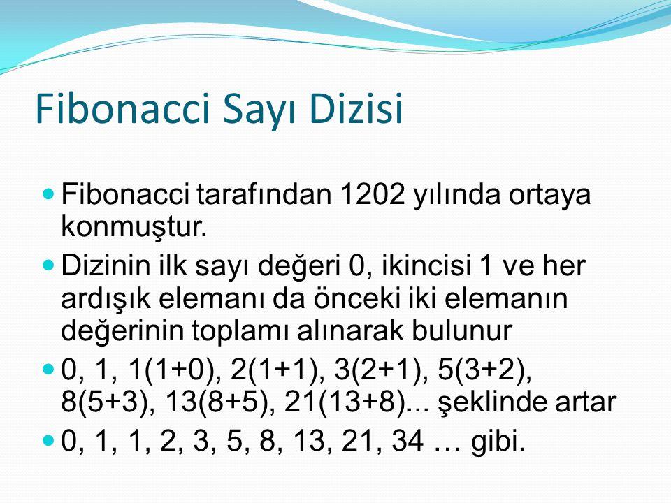 Fibonacci Sayı Dizisi Fibonacci tarafından 1202 yılında ortaya konmuştur.