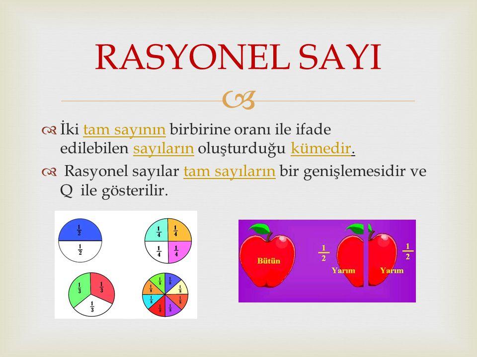 RASYONEL SAYI İki tam sayının birbirine oranı ile ifade edilebilen sayıların oluşturduğu kümedir.