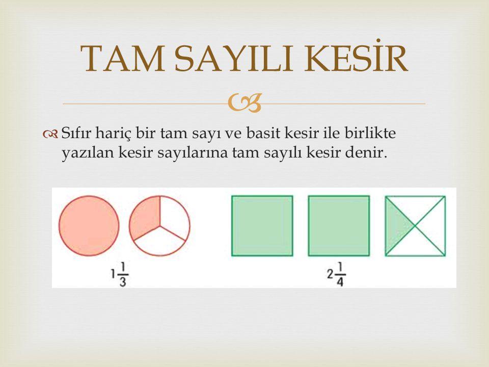 TAM SAYILI KESİR Sıfır hariç bir tam sayı ve basit kesir ile birlikte yazılan kesir sayılarına tam sayılı kesir denir.