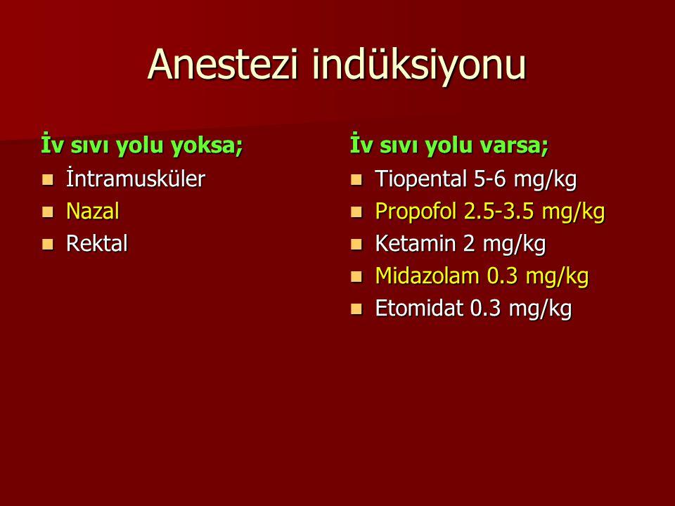 Anestezi indüksiyonu İv sıvı yolu yoksa; İv sıvı yolu varsa;