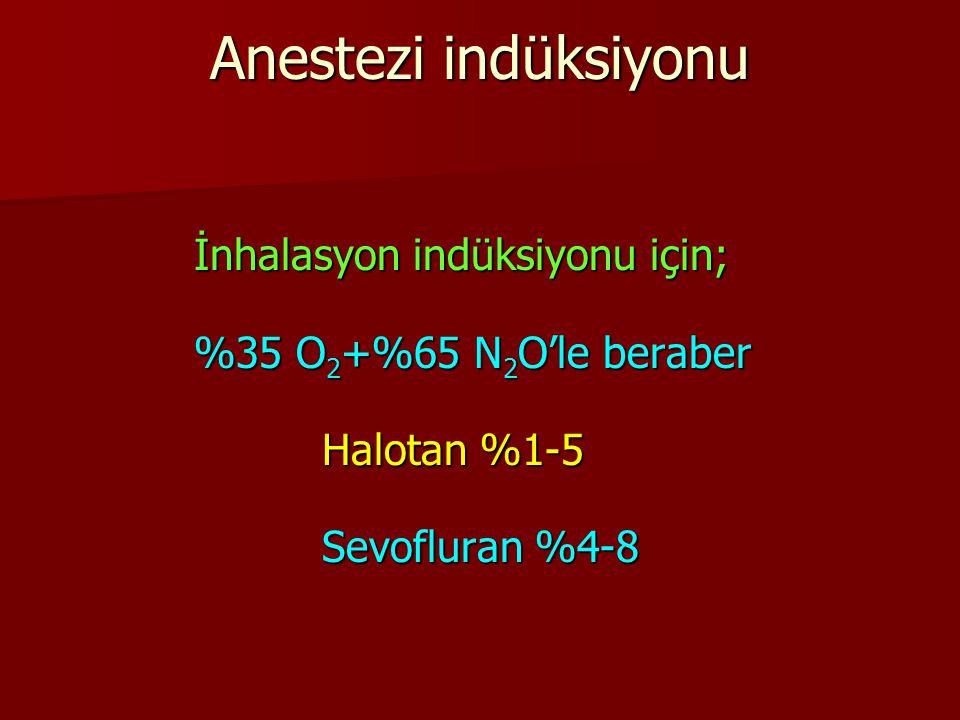 Anestezi indüksiyonu İnhalasyon indüksiyonu için;