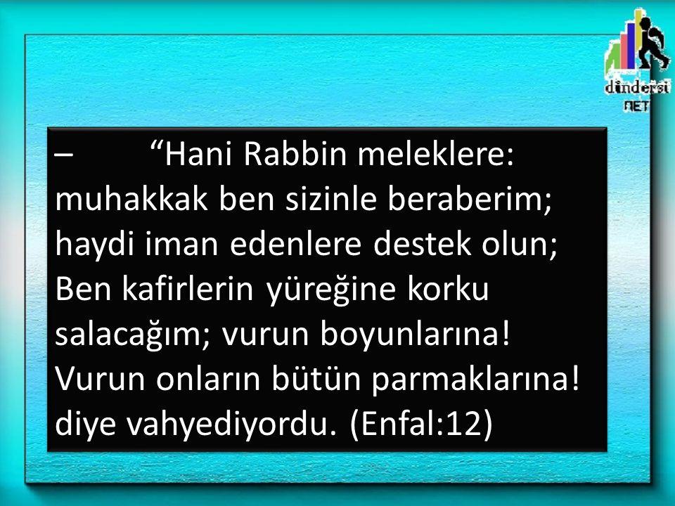 – Hani Rabbin meleklere: muhakkak ben sizinle beraberim; haydi iman edenlere destek olun; Ben kafirlerin yüreğine korku salacağım; vurun boyunlarına.
