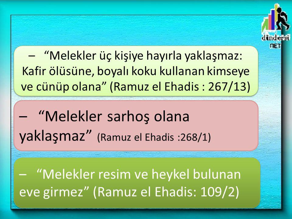 – Melekler sarhoş olana yaklaşmaz (Ramuz el Ehadis :268/1)