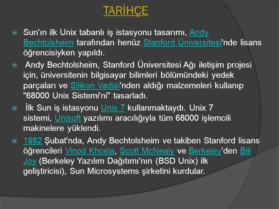 TARİHÇE Sun ın ilk Unix tabanlı iş istasyonu tasarımı, Andy Bechtolsheim tarafından henüz Stanford Üniversitesi nde lisans öğrencisiyken yapıldı.