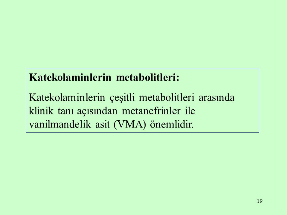 Katekolaminlerin metabolitleri: