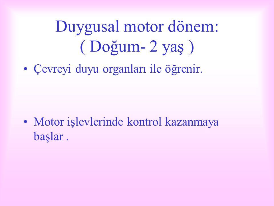 Duygusal motor dönem: ( Doğum- 2 yaş )