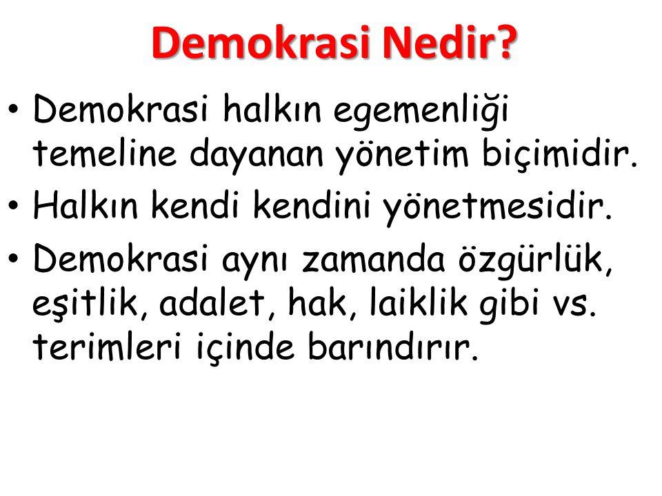 Demokrasi Nedir Demokrasi halkın egemenliği temeline dayanan yönetim biçimidir. Halkın kendi kendini yönetmesidir.