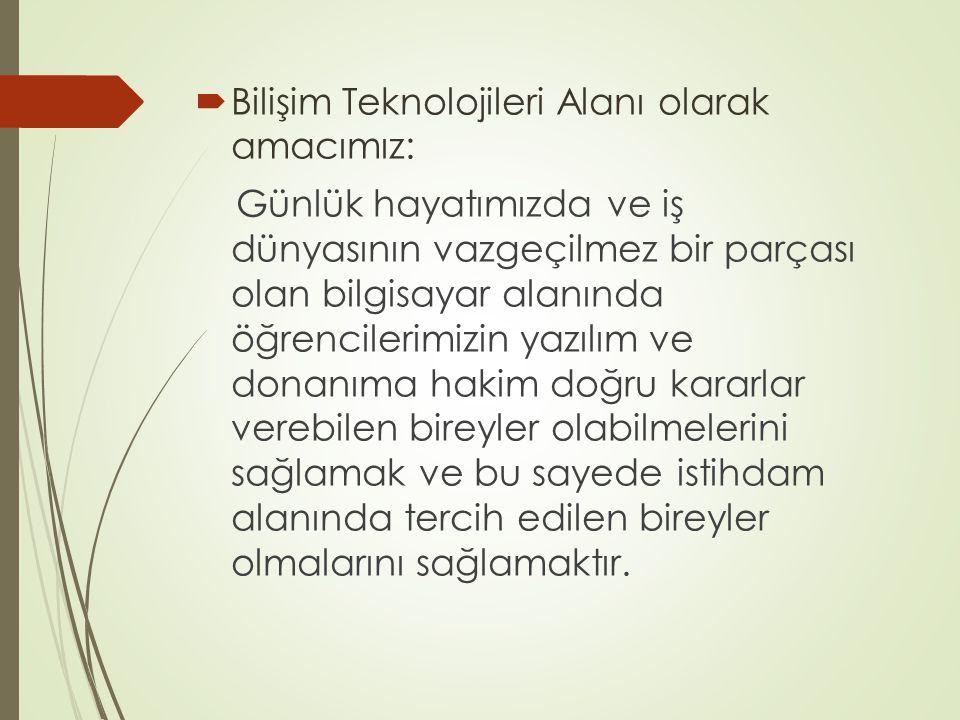Bilişim Teknolojileri Alanı olarak amacımız: