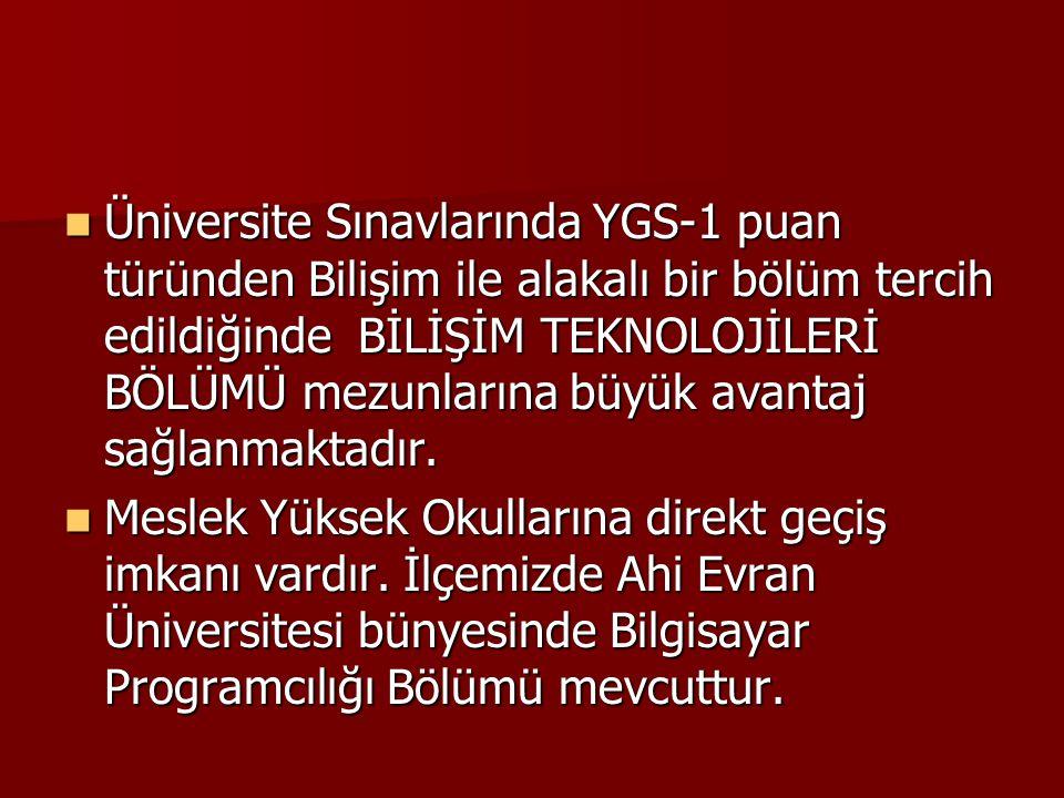 Üniversite Sınavlarında YGS-1 puan türünden Bilişim ile alakalı bir bölüm tercih edildiğinde BİLİŞİM TEKNOLOJİLERİ BÖLÜMÜ mezunlarına büyük avantaj sağlanmaktadır.