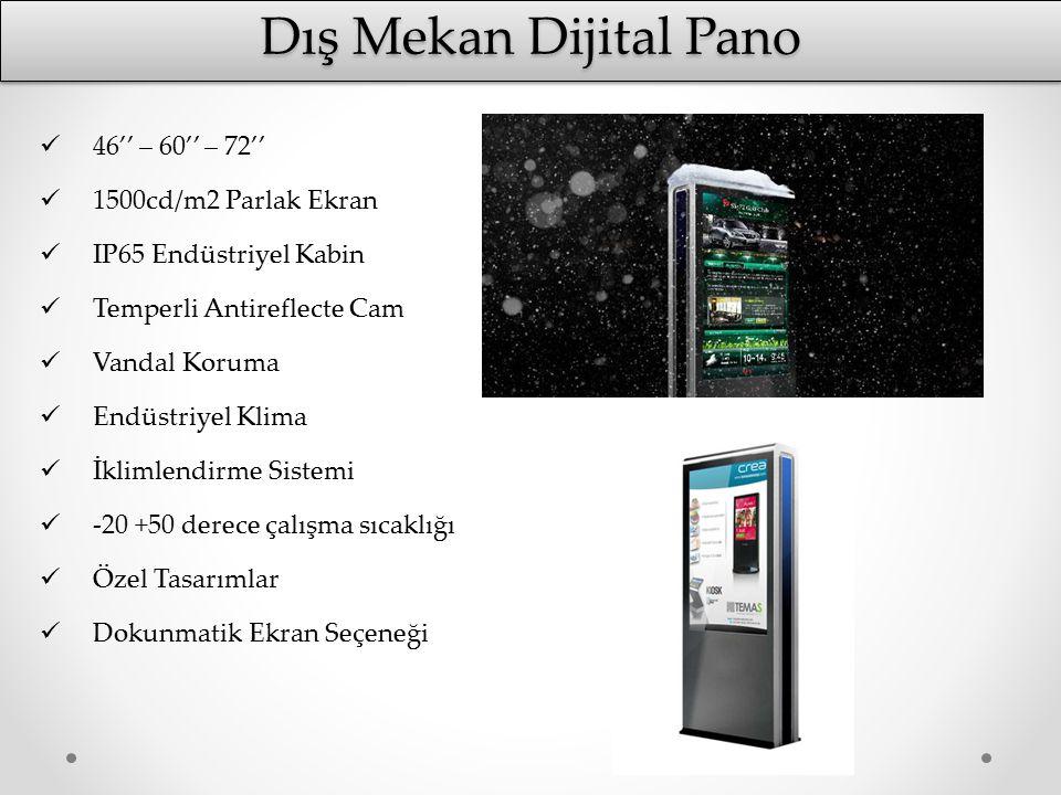 Dış Mekan Dijital Pano 46'' – 60'' – 72'' 1500cd/m2 Parlak Ekran