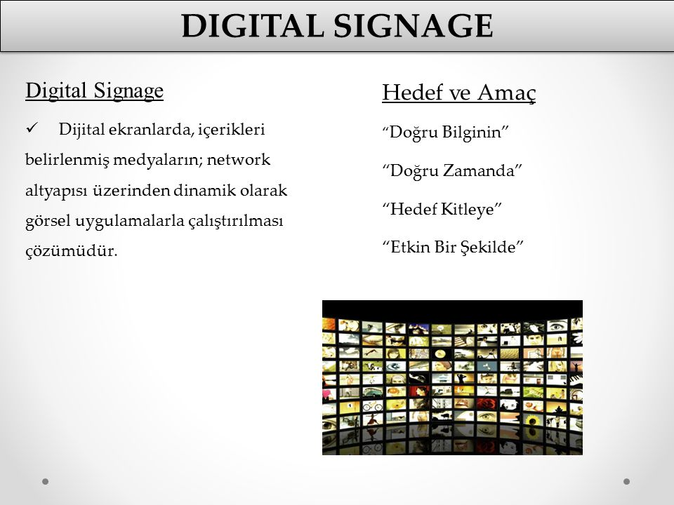 Digital signage Digital Signage Hedef ve Amaç