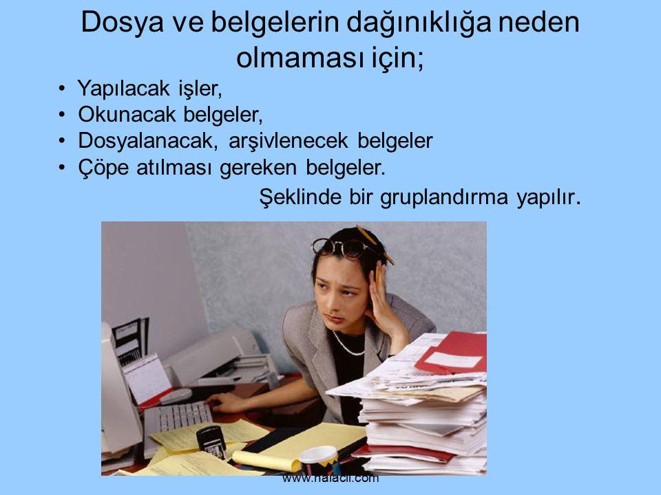 Dosya ve belgelerin dağınıklığa neden olmaması için;