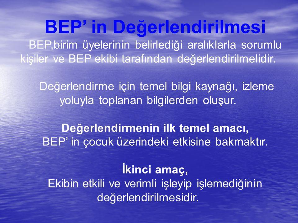BEP' in Değerlendirilmesi Değerlendirmenin ilk temel amacı,