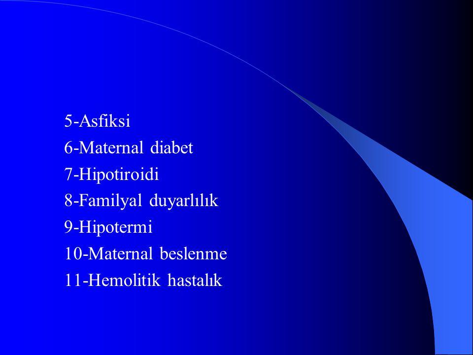 5-Asfiksi 6-Maternal diabet. 7-Hipotiroidi. 8-Familyal duyarlılık. 9-Hipotermi. 10-Maternal beslenme.