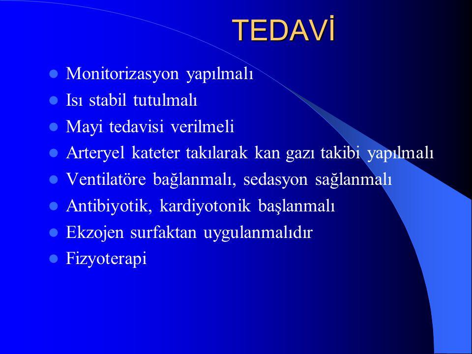 TEDAVİ Monitorizasyon yapılmalı Isı stabil tutulmalı
