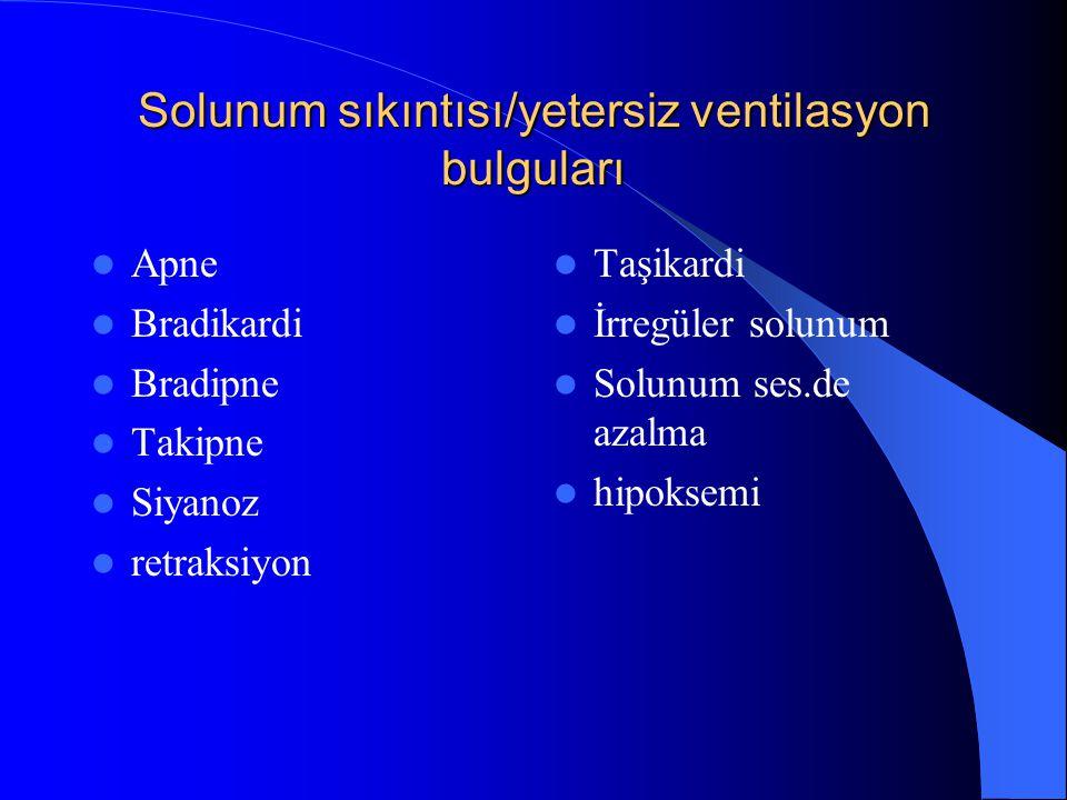 Solunum sıkıntısı/yetersiz ventilasyon bulguları