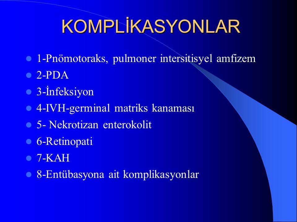 KOMPLİKASYONLAR 1-Pnömotoraks, pulmoner intersitisyel amfizem 2-PDA
