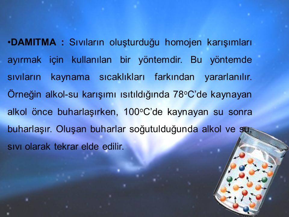 DAMITMA : Sıvıların oluşturduğu homojen karışımları ayırmak için kullanılan bir yöntemdir.
