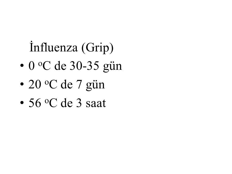 İnfluenza (Grip) 0 oC de 30-35 gün 20 oC de 7 gün 56 oC de 3 saat