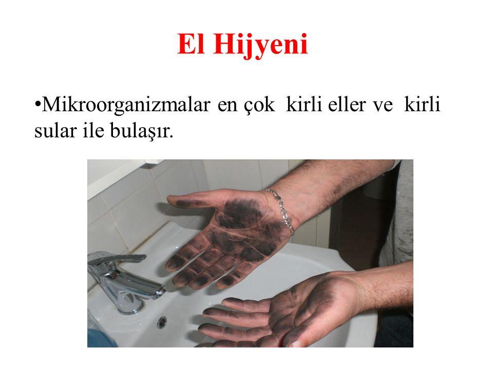 El Hijyeni Mikroorganizmalar en çok kirli eller ve kirli sular ile bulaşır.