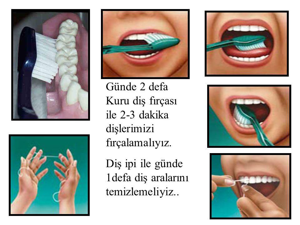 Günde 2 defa Kuru diş fırçası ile 2-3 dakika dişlerimizi fırçalamalıyız.