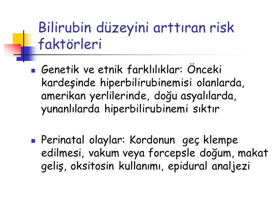 Bilirubin düzeyini arttıran risk faktörleri