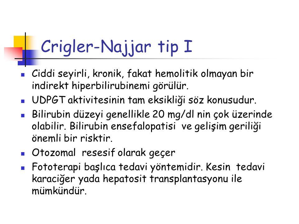 Crigler-Najjar tip I Ciddi seyirli, kronik, fakat hemolitik olmayan bir indirekt hiperbilirubinemi görülür.