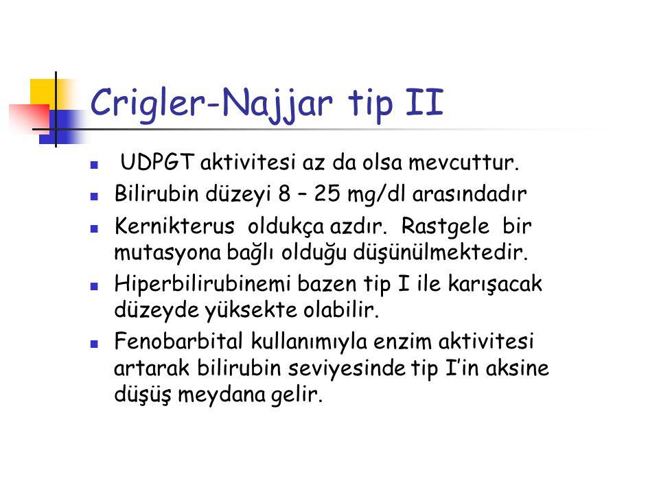 Crigler-Najjar tip II UDPGT aktivitesi az da olsa mevcuttur.