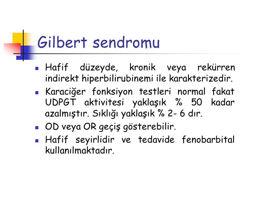Gilbert sendromu Hafif düzeyde, kronik veya rekürren indirekt hiperbilirubinemi ile karakterizedir.