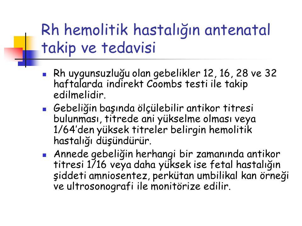 Rh hemolitik hastalığın antenatal takip ve tedavisi