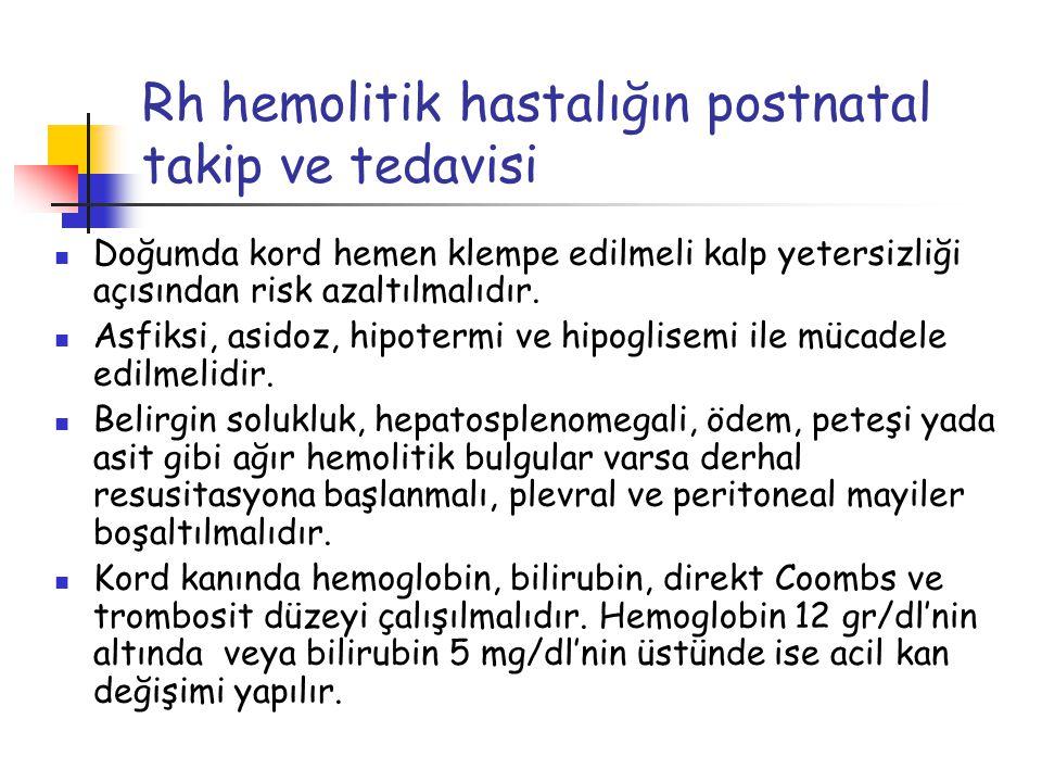 Rh hemolitik hastalığın postnatal takip ve tedavisi