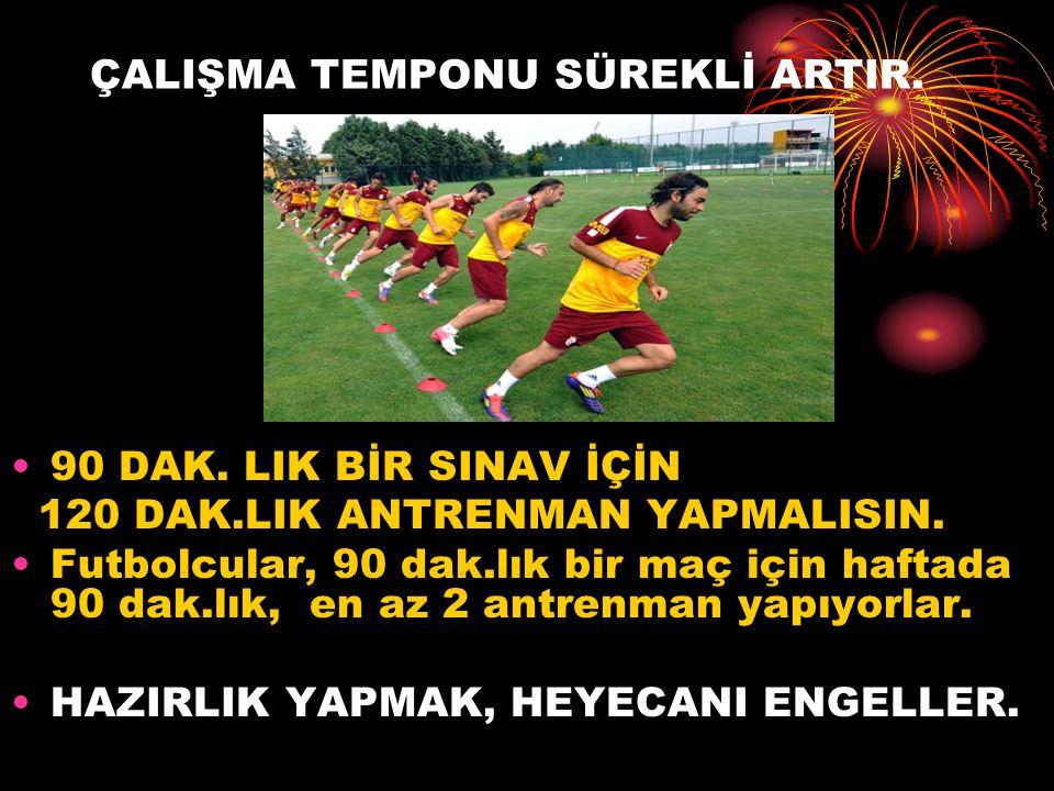 ÇALIŞMA TEMPONU SÜREKLİ ARTIR.