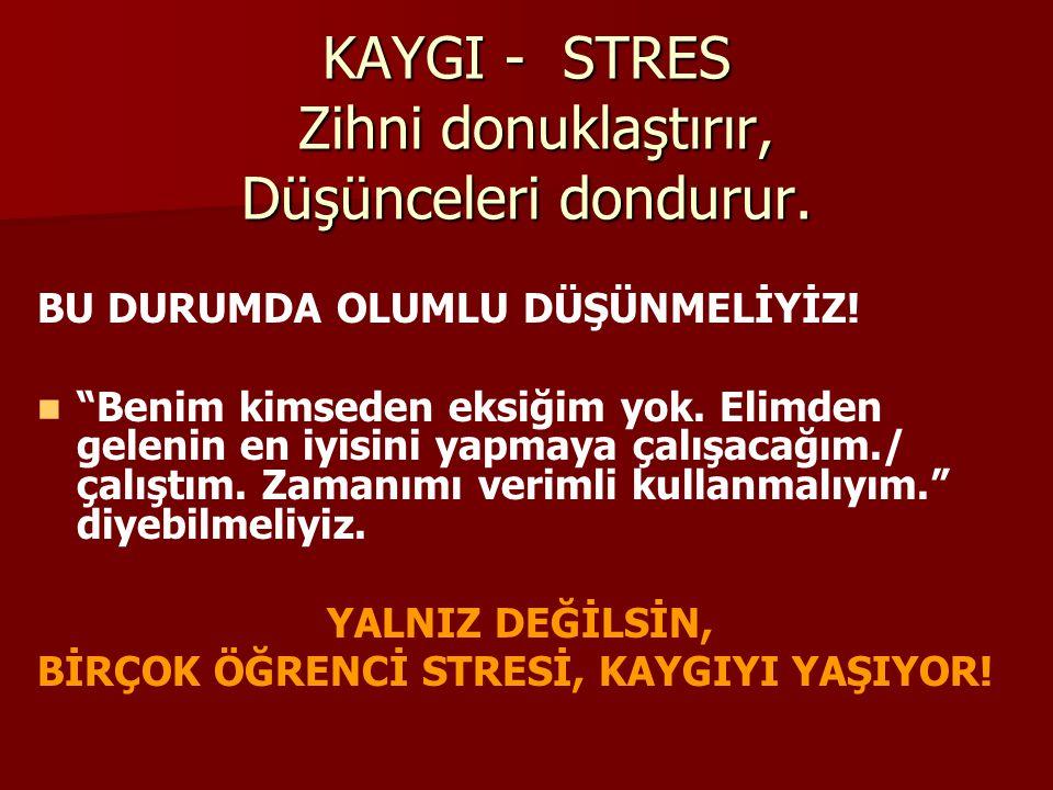 KAYGI - STRES Zihni donuklaştırır, Düşünceleri dondurur.