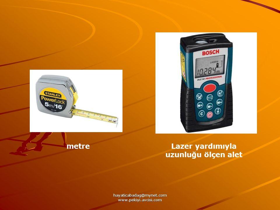 Lazer yardımıyla uzunluğu ölçen alet