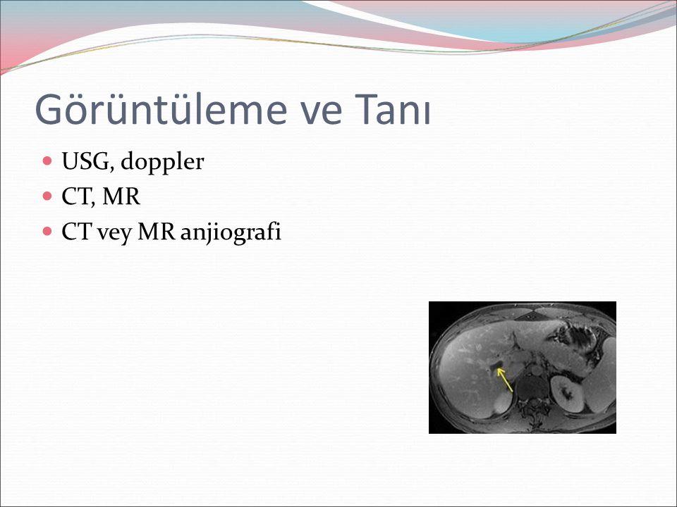 Görüntüleme ve Tanı USG, doppler CT, MR CT vey MR anjiografi