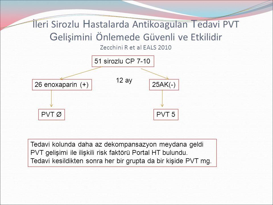 İleri Sirozlu Hastalarda Antikoagulan Tedavi PVT Gelişimini Önlemede Güvenli ve Etkilidir Zecchini R et al EALS 2010
