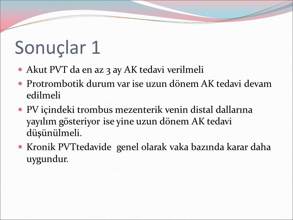 Sonuçlar 1 Akut PVT da en az 3 ay AK tedavi verilmeli