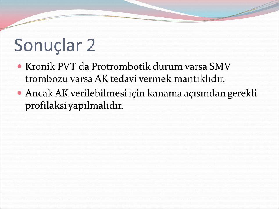 Sonuçlar 2 Kronik PVT da Protrombotik durum varsa SMV trombozu varsa AK tedavi vermek mantıklıdır.