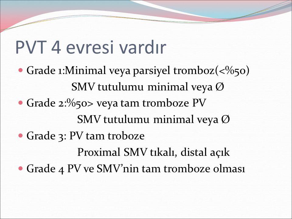 PVT 4 evresi vardır Grade 1:Minimal veya parsiyel tromboz(<%50)