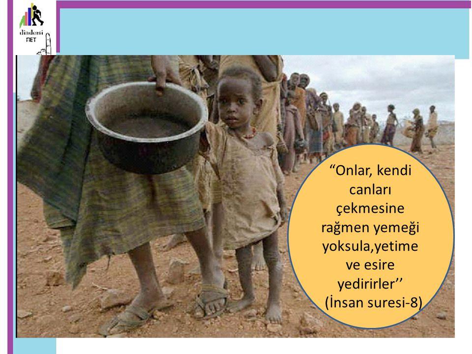 Onlar, kendi canları çekmesine rağmen yemeği yoksula,yetime ve esire yedirirler''