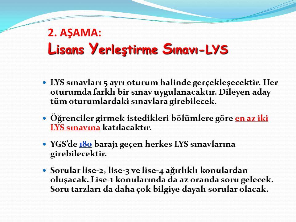 2. AŞAMA: Lisans Yerleştirme Sınavı-LYS