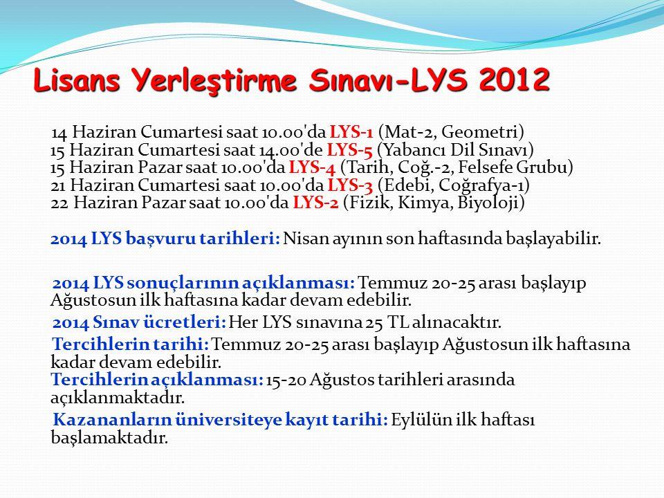 Lisans Yerleştirme Sınavı-LYS 2012