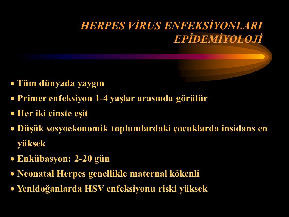 HERPES VİRUS ENFEKSİYONLARI EPİDEMİYOLOJİ