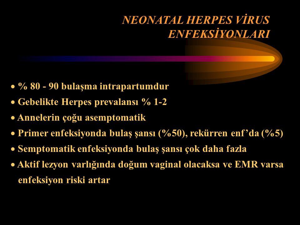 NEONATAL HERPES VİRUS ENFEKSİYONLARI % 80 - 90 bulaşma intrapartumdur