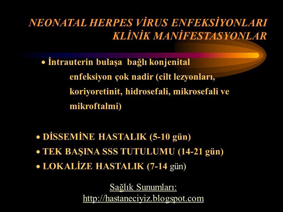 NEONATAL HERPES VİRUS ENFEKSİYONLARI KLİNİK MANİFESTASYONLAR