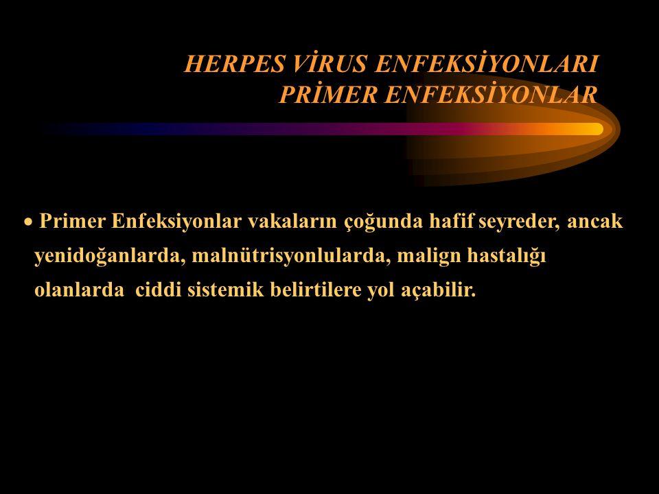 HERPES VİRUS ENFEKSİYONLARI PRİMER ENFEKSİYONLAR